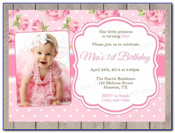 First Birthday Invitation Card Template Photo Birthday Invitation Regarding 1st Birthday Invitations Templates Free