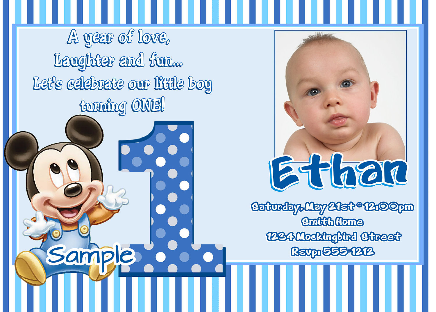 1st Birthday Invitation Template For Baby Boy