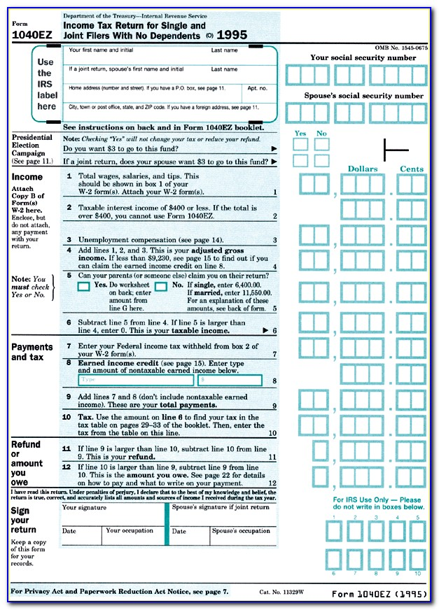 2011 Federal Income Tax Forms 1040ez
