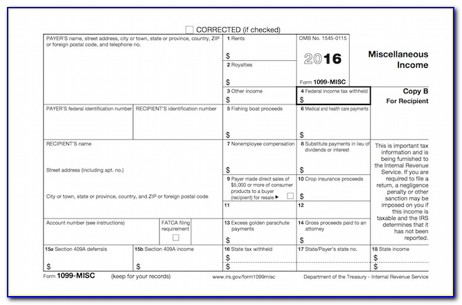 2016 Tax Form 1099 Misc