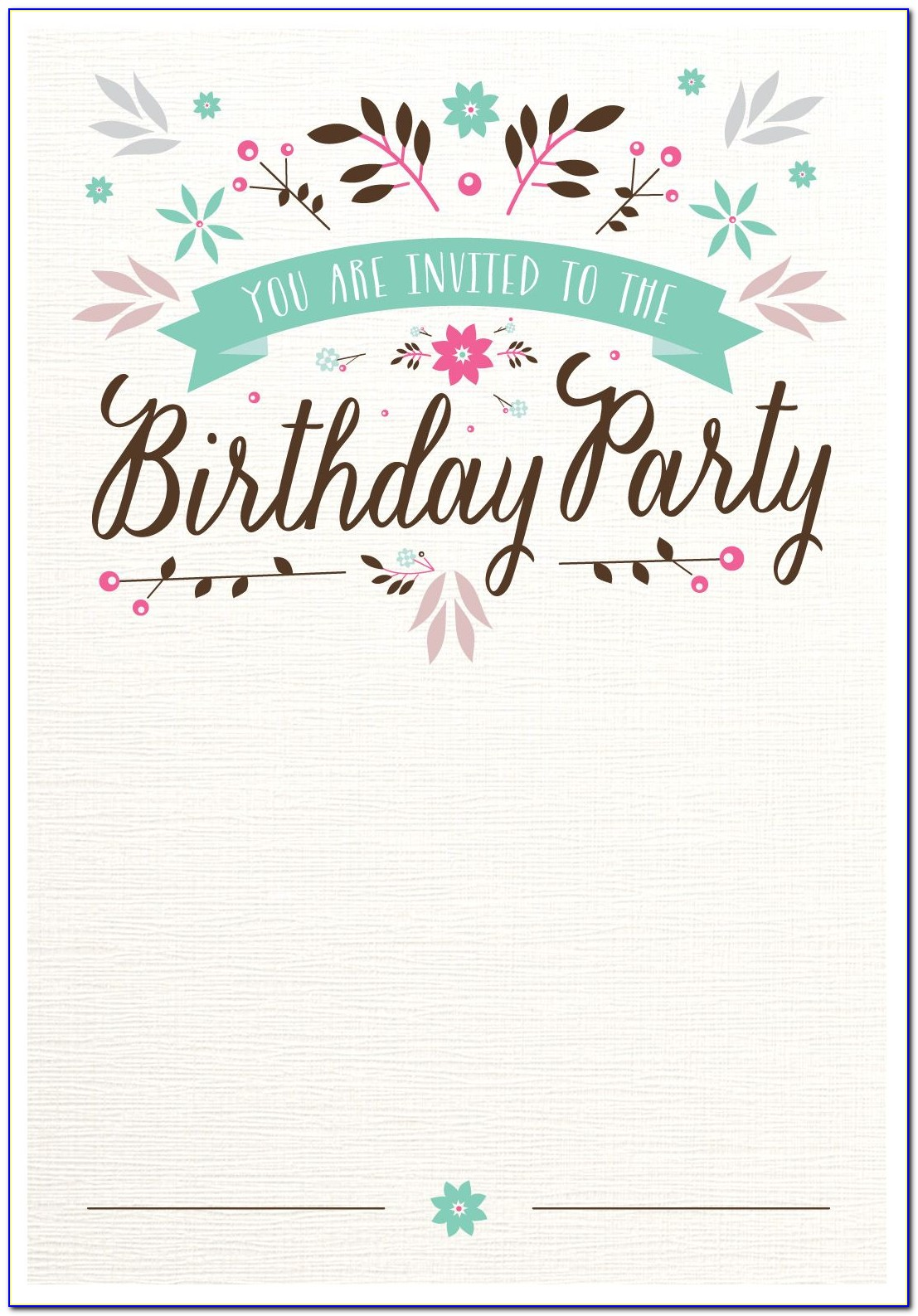 21st Birthday Party Invitation Card Template