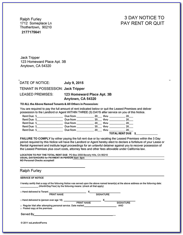 3 Day Notice To Vacate Ohio Template