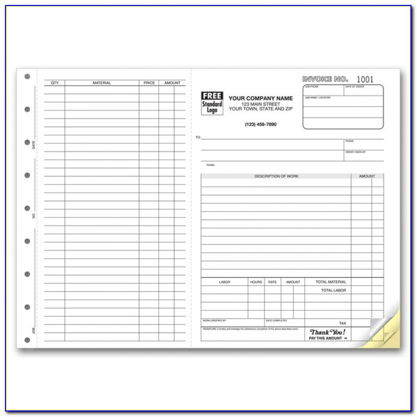 3 Part Carbonless Invoice Forms