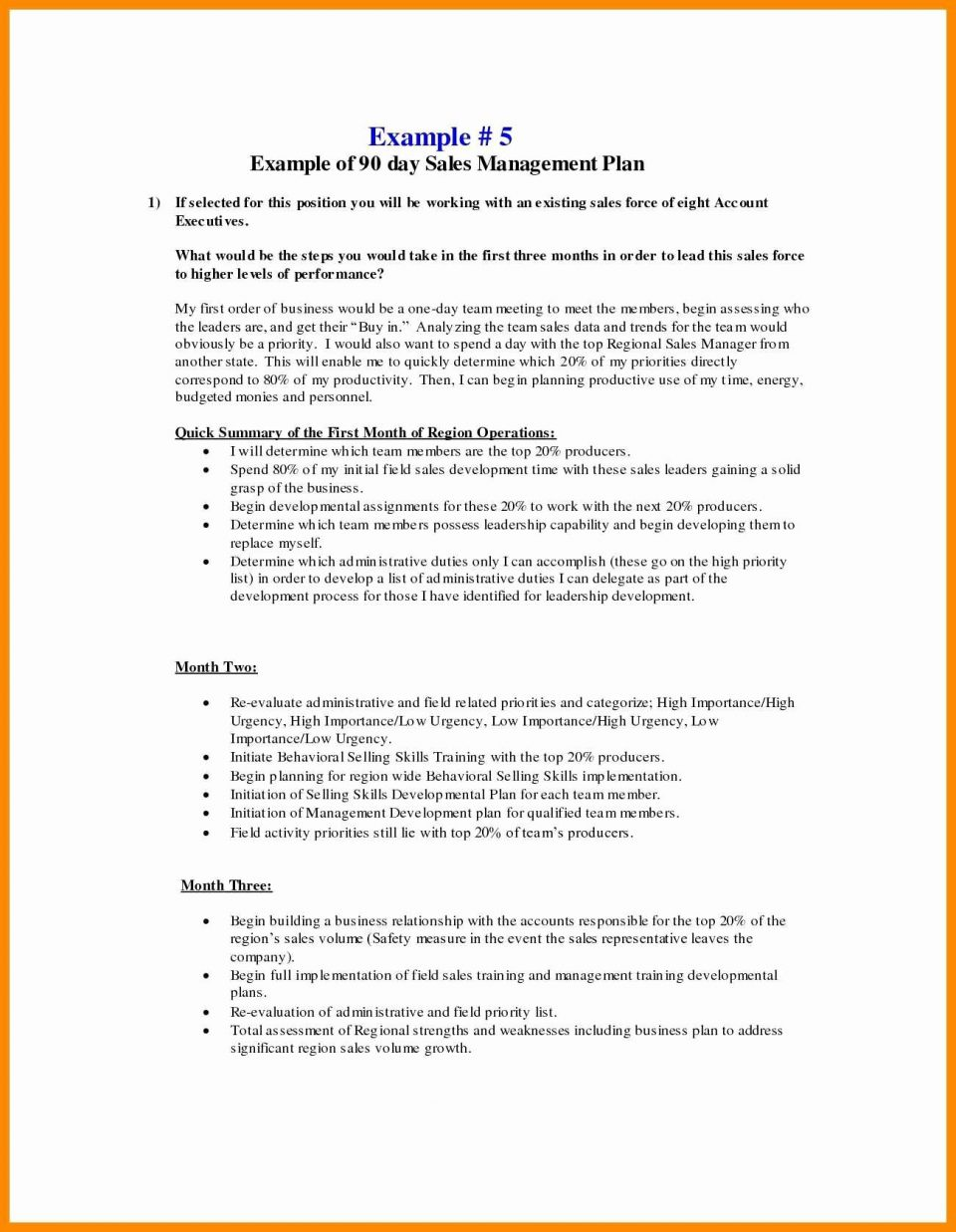30 Day Business Plan Examples
