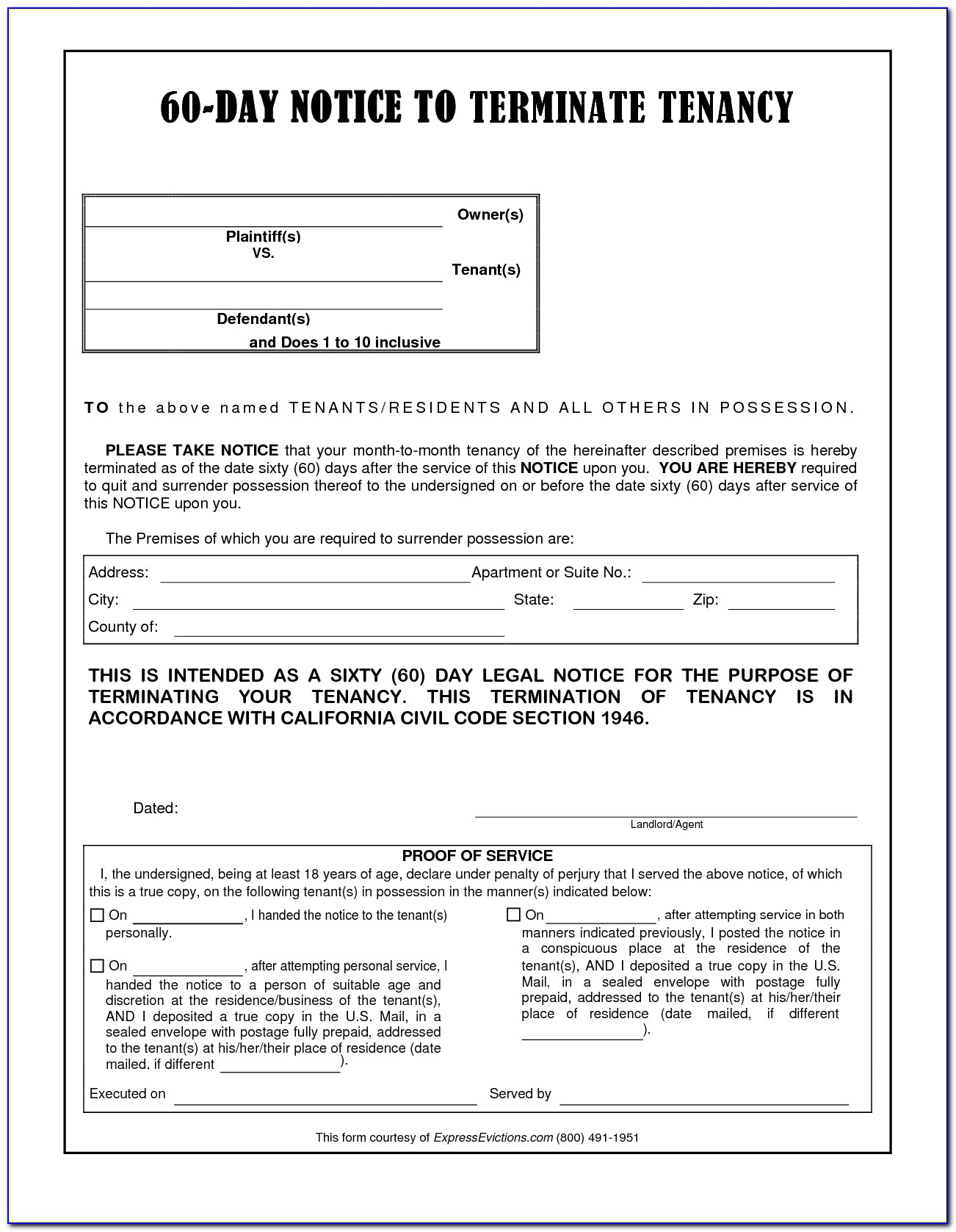 30 Day Notice To Vacate California Template Free