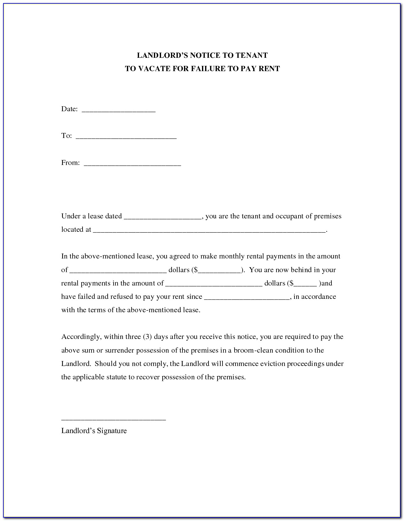 30 Day Notice To Vacate Form From Landlord