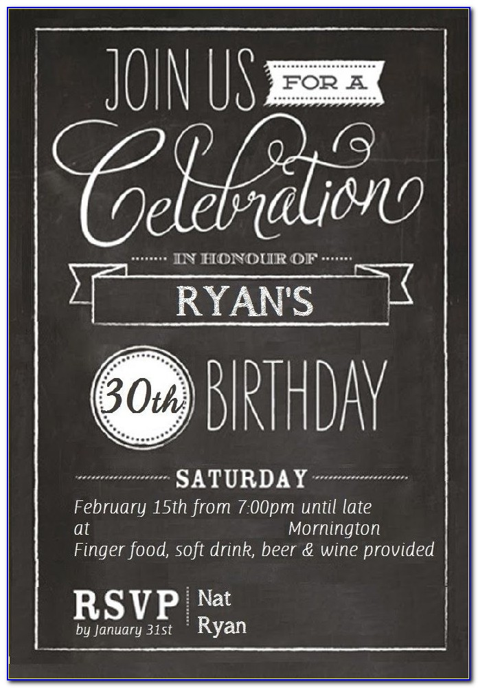30th Birthday Invitation Templates For Him