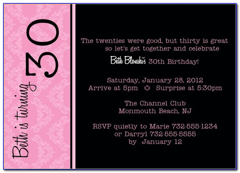 30th Birthday Party Invitation Wording Samples