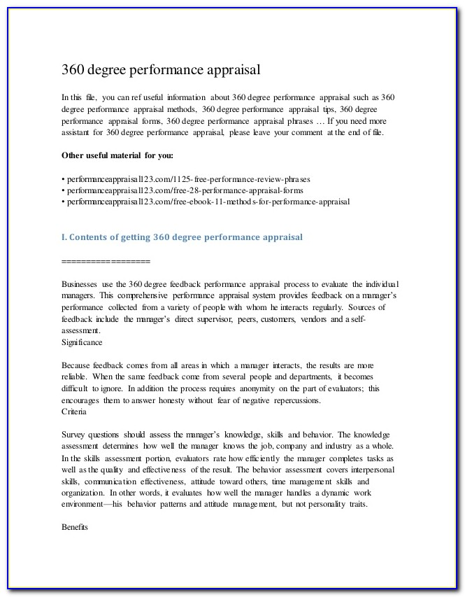 360 Degree Feedback Performance Appraisal Template