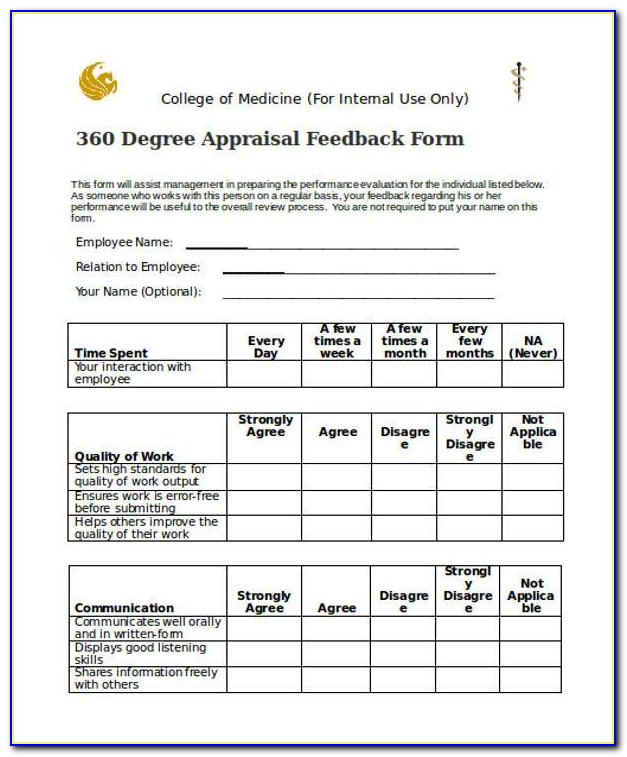 360 Degree Performance Appraisal Forms For Employees