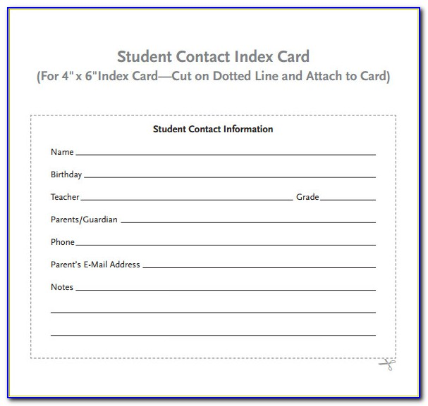 4 X 6 Index Card Template Word