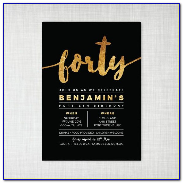40th Party Invitation Templates