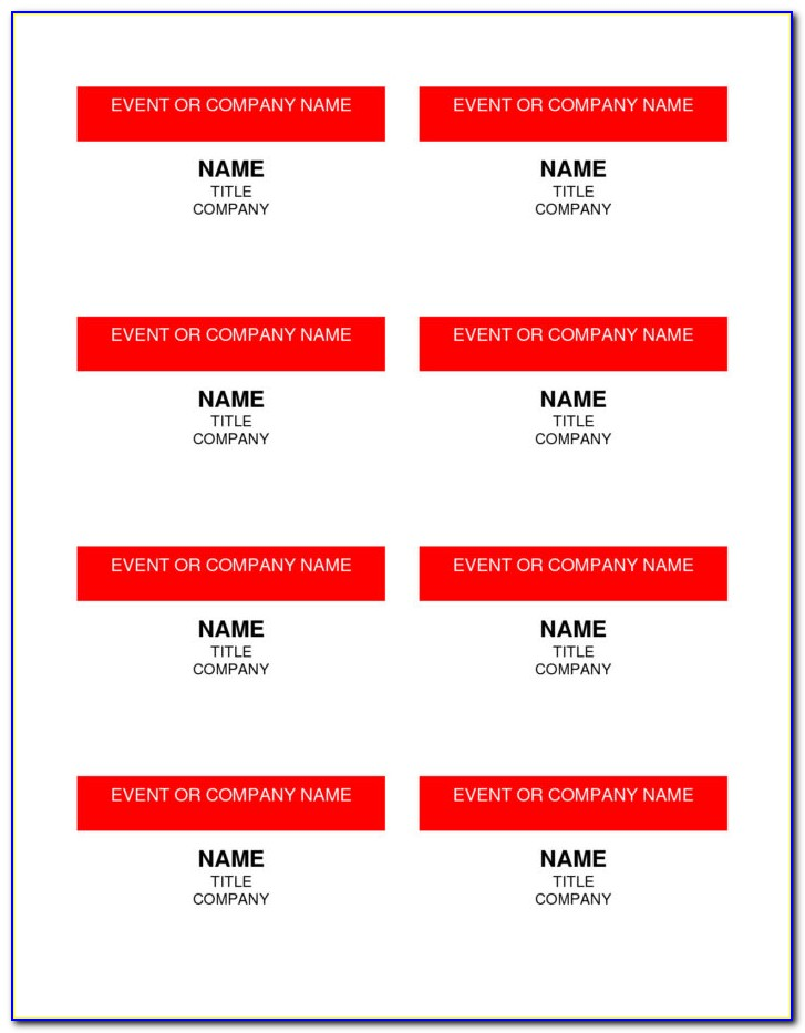4×3 Name Tag Template Word