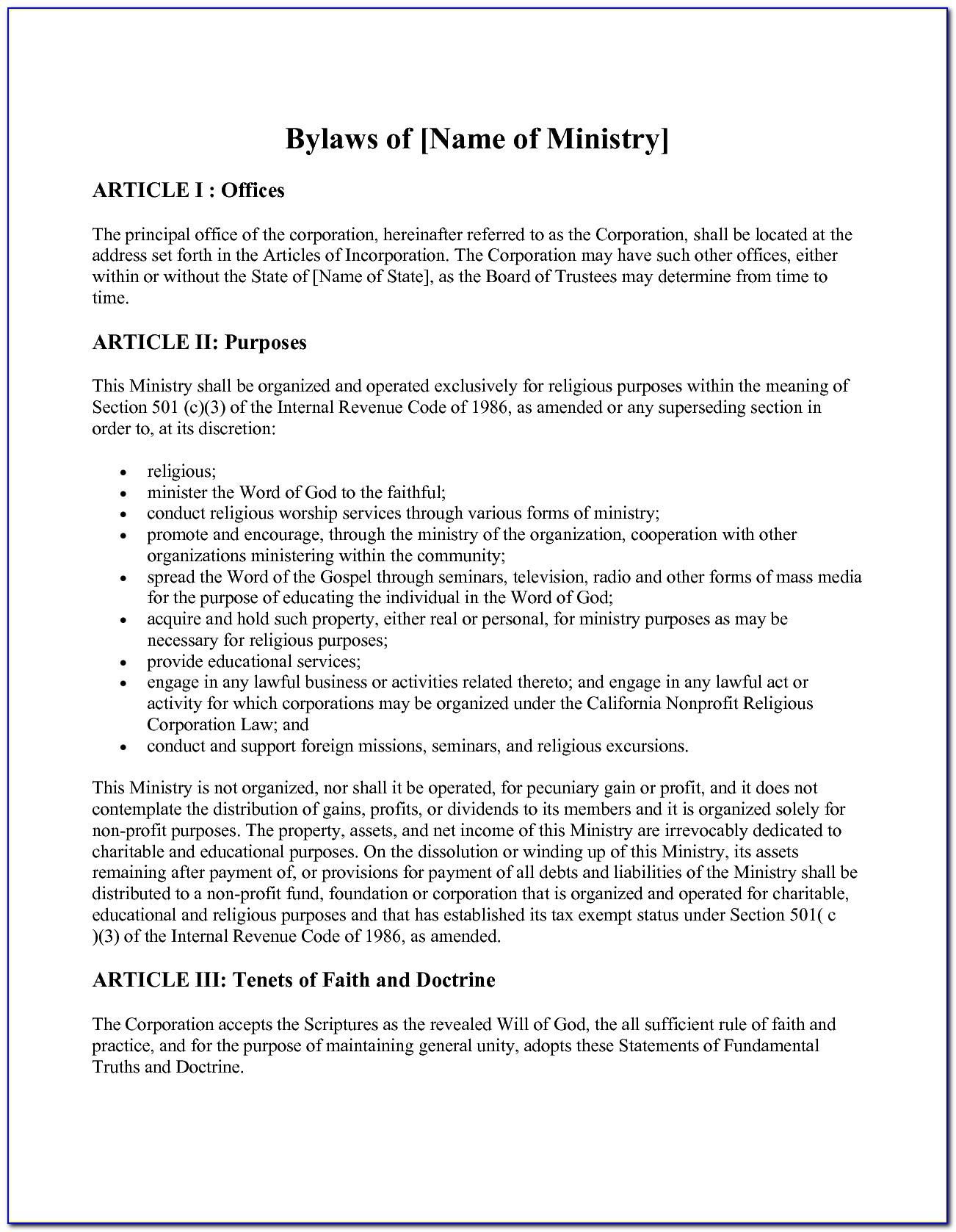 501c3 Bylaws Template
