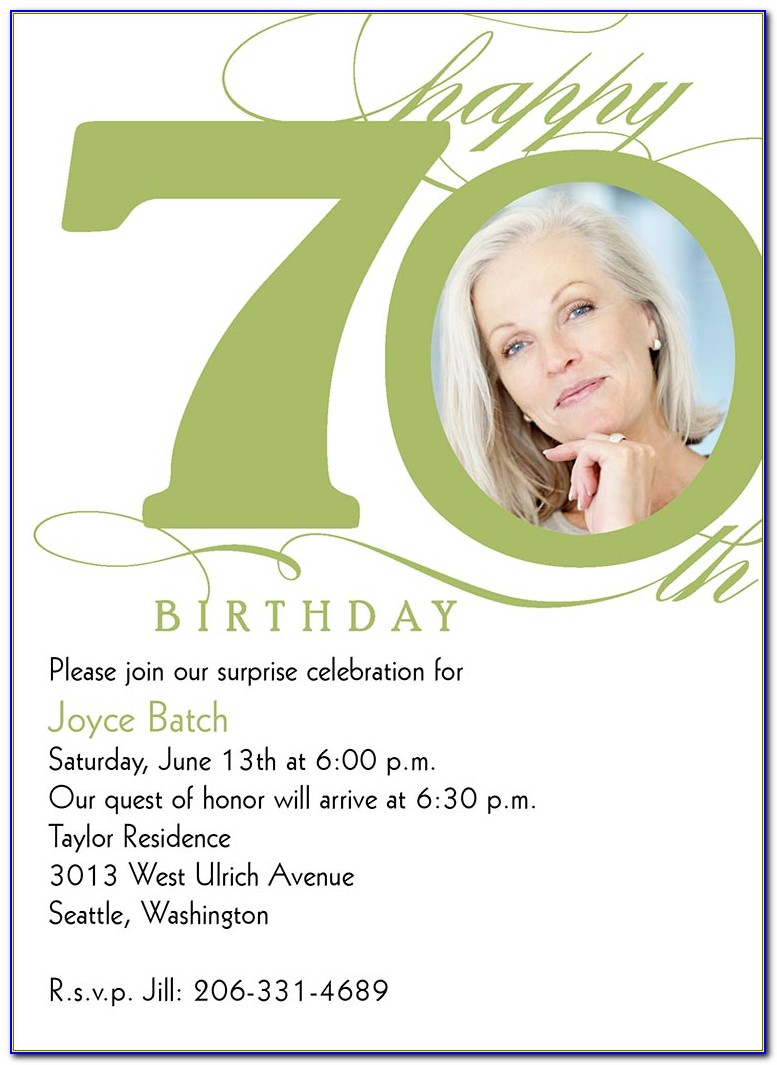 70th Birthday Card Template