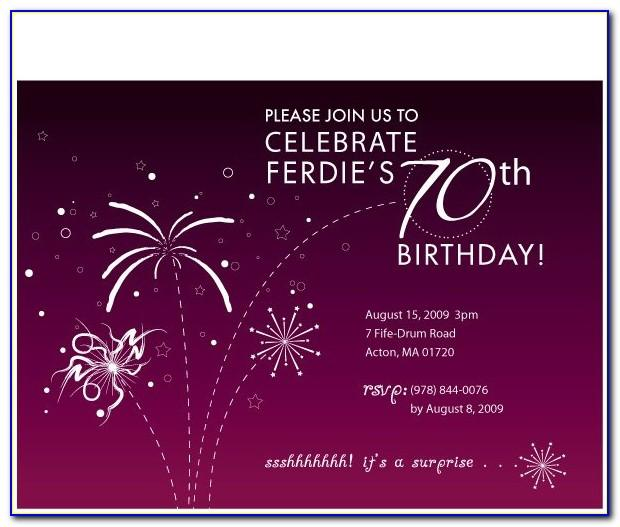 70th Birthday Invitation Template Free Download