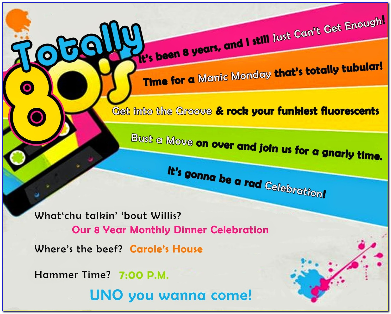 80s Party Invitation Wording Samples