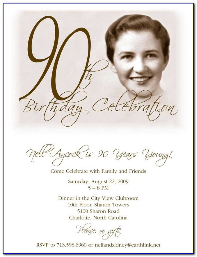 90 Birthday Invitations Templates