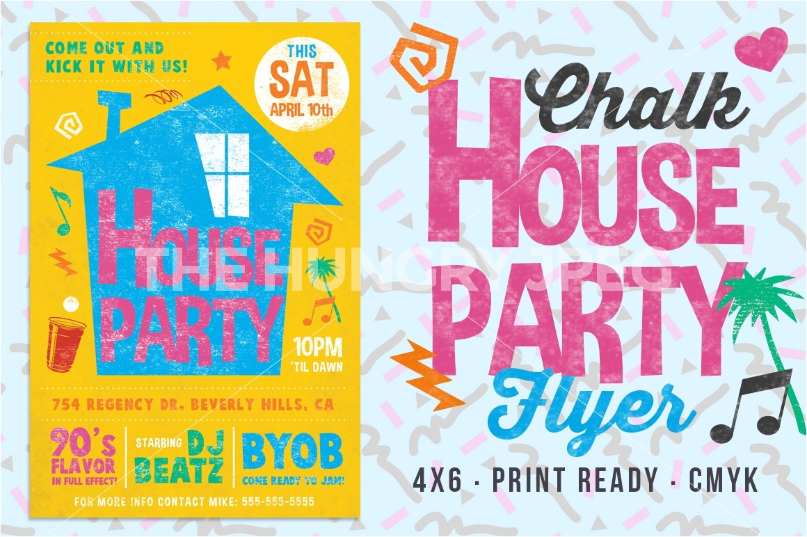 90s House Party Invitation Template Chalk House Party 90 S Retro Flyer By Lucion Creative