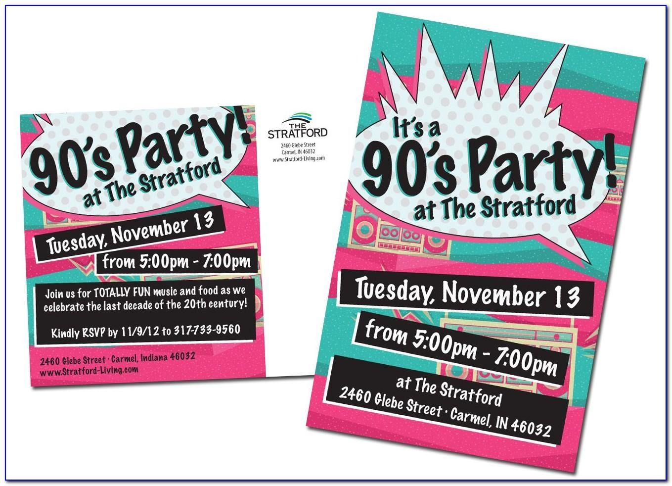 90s Party Invitation Template Free