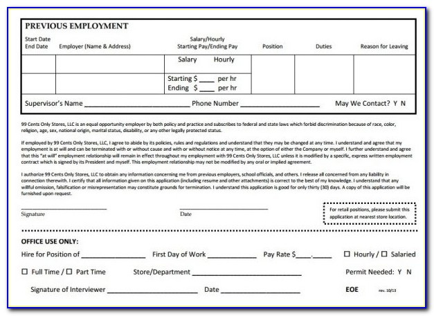 99 Cent Store Application Online Print Out