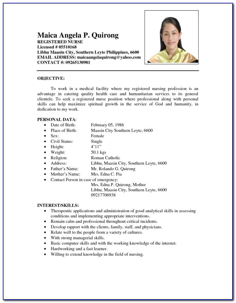 Resume Sample For Nurses Philippines Vincegray2014