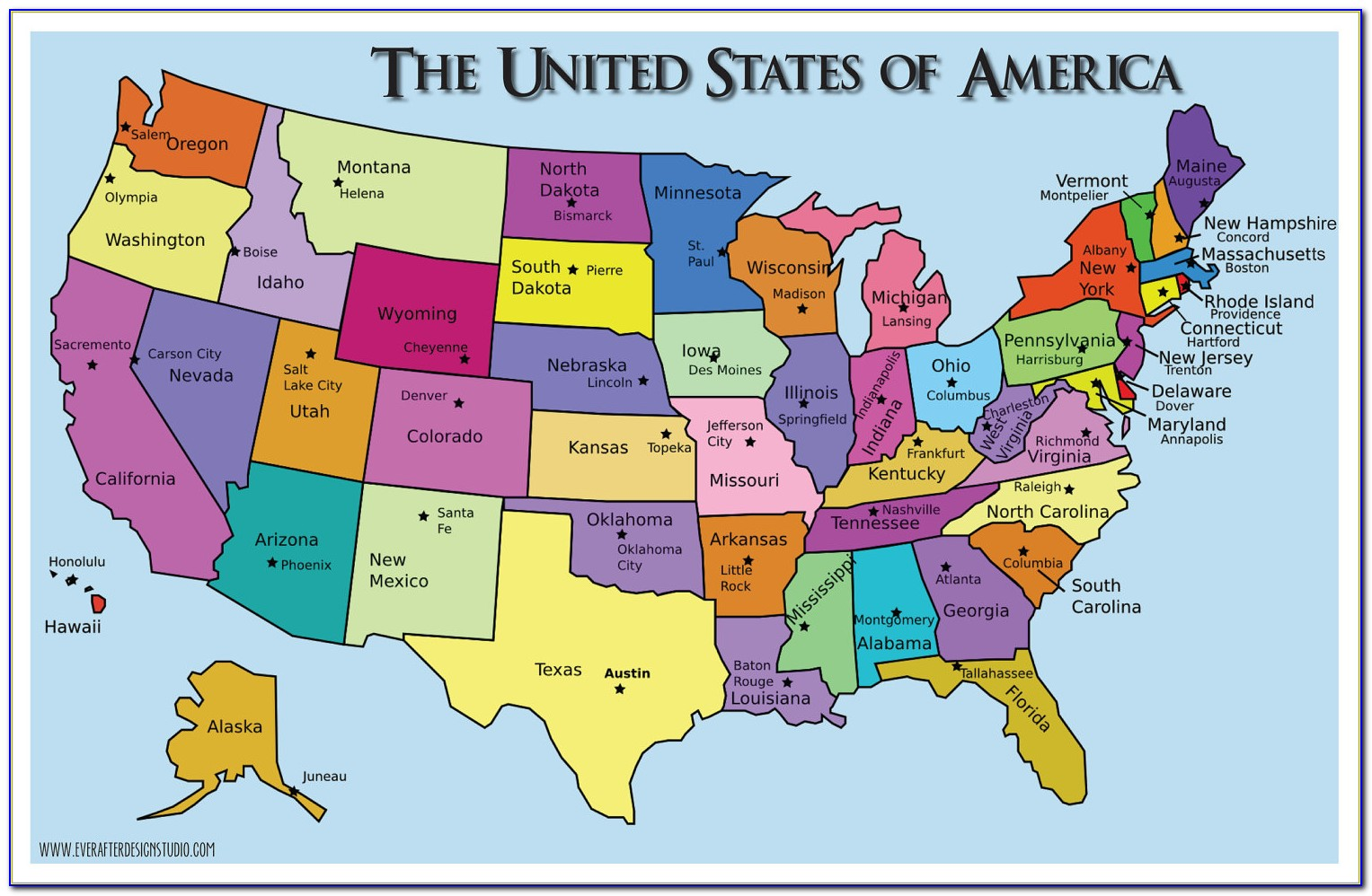 A Map Of The Us States And Capitals