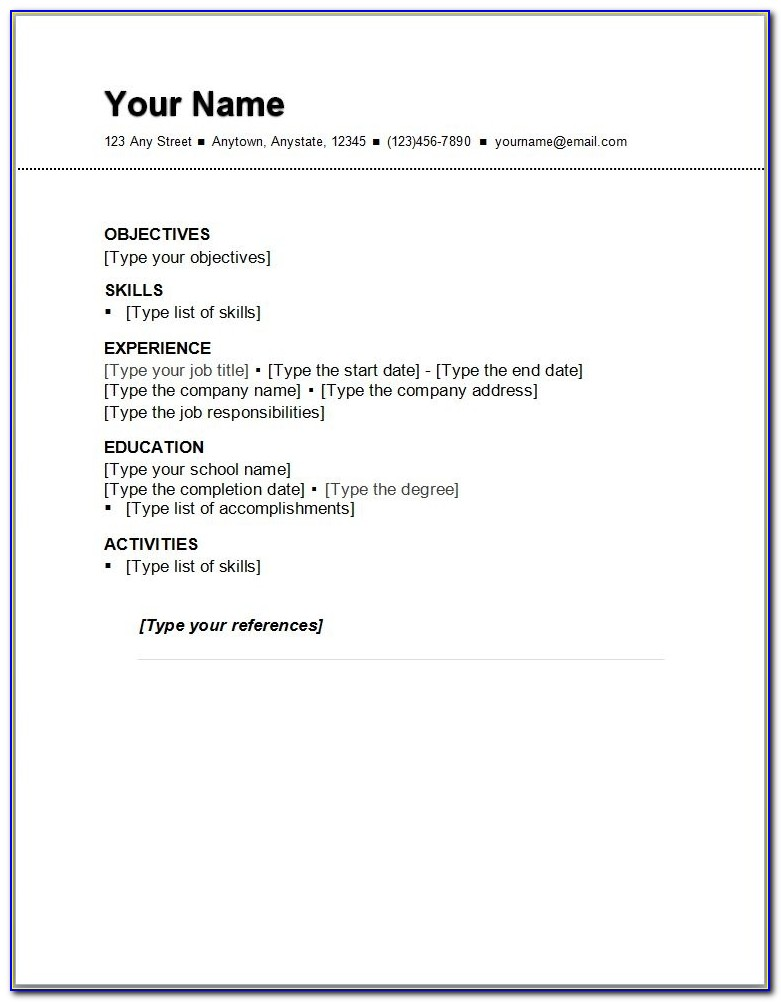 Basic Resume Outline Sample Http://www.resumecareer/basic For Basic Resume Outline Template