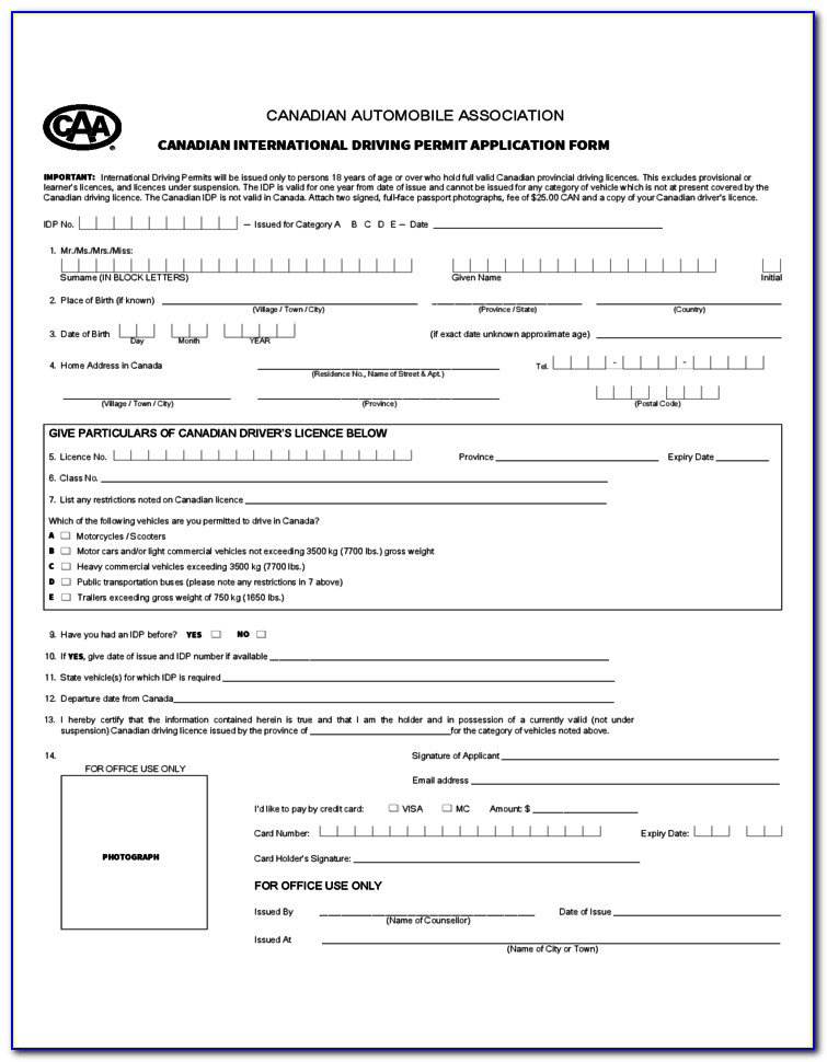 Aaa International Drivers License Application Form
