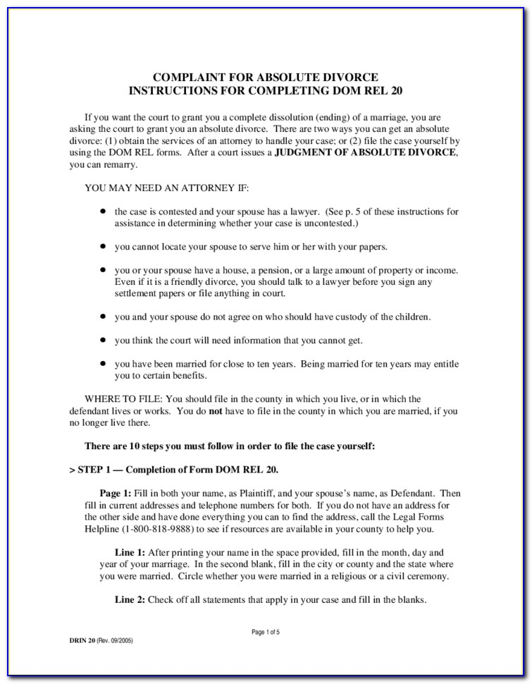 Absolute Divorce Form In Md