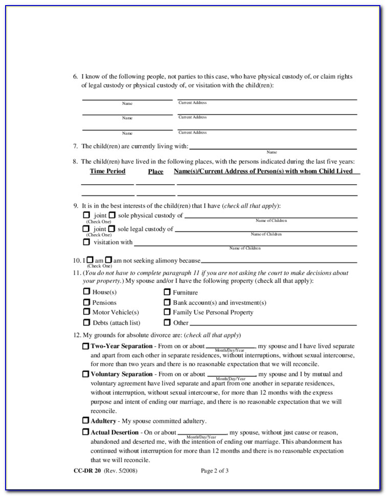 Absolute Divorce Forms In Maryland