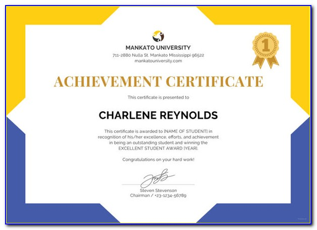 Academic Achievement Award Certificate Template