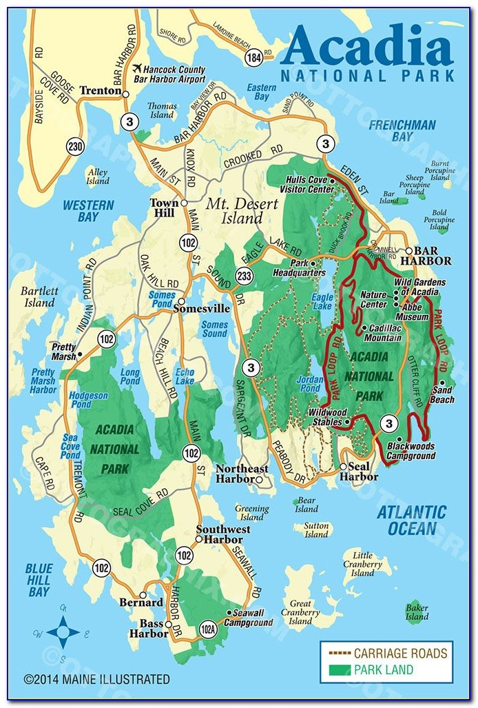 Acadia National Park Map Hiking