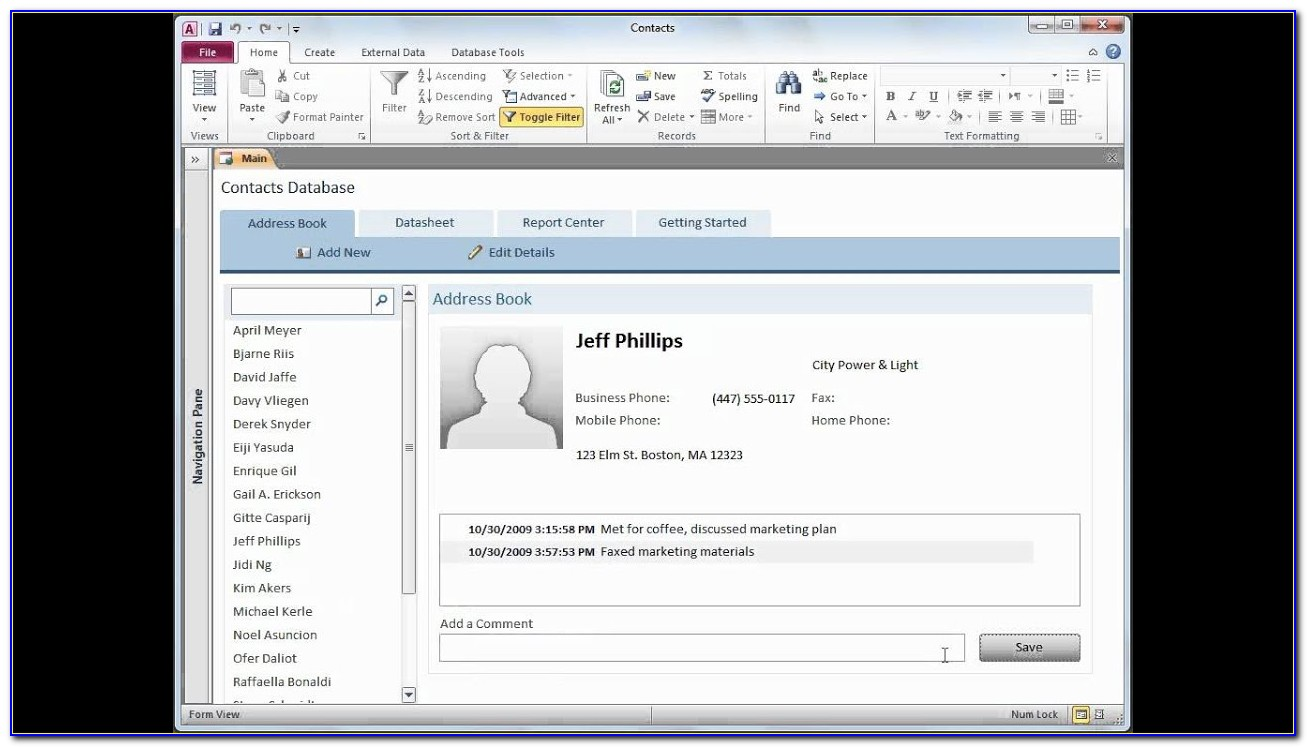 Access Contact Database Template Free