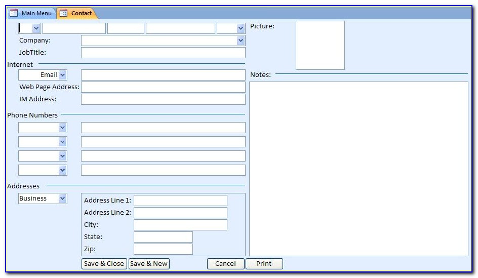 Access Database Template Free