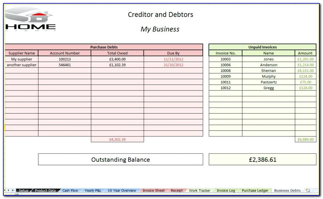 Accounts Payable Excel Template Free