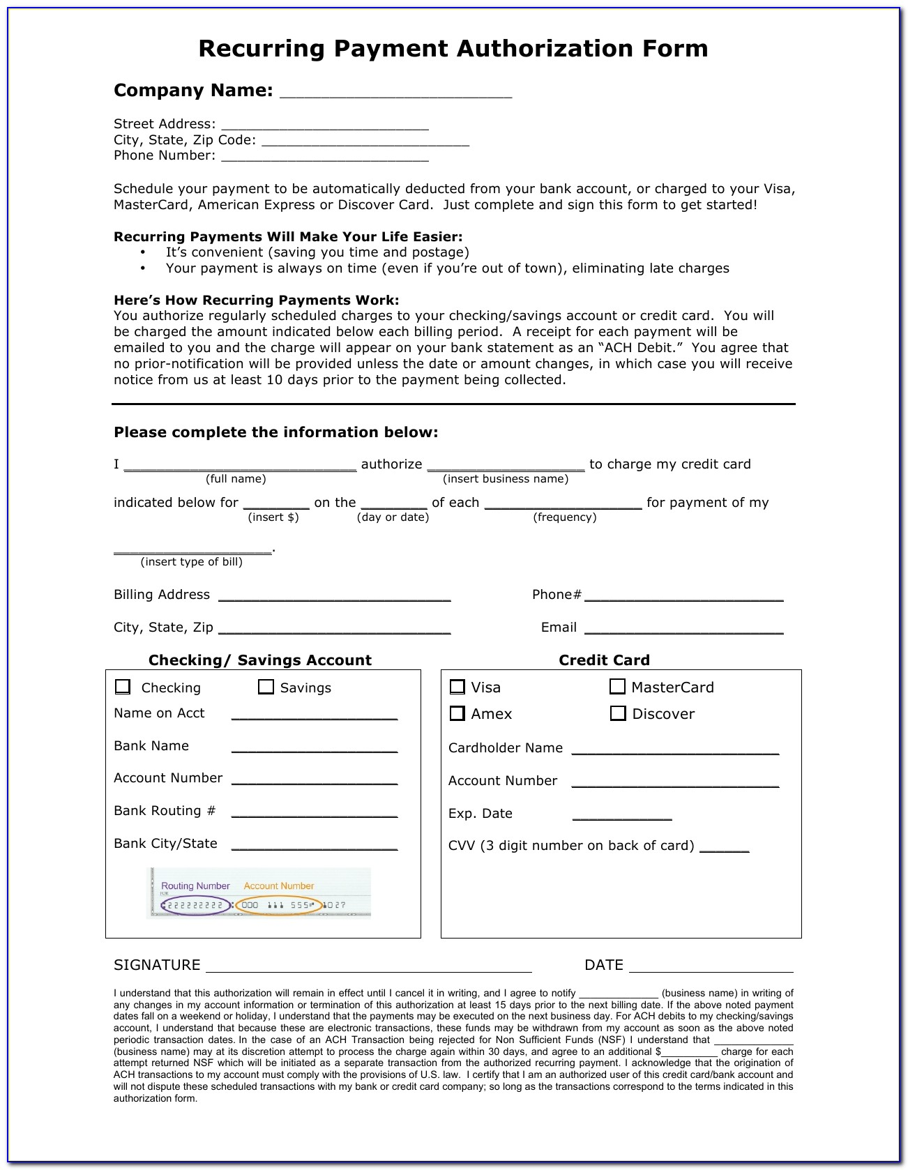 Download Recurring Payment Authorization Form Template | Credit Card Regarding Ach Authorization Form Template