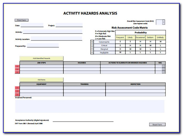 Activity Hazard Analysis Template Excel