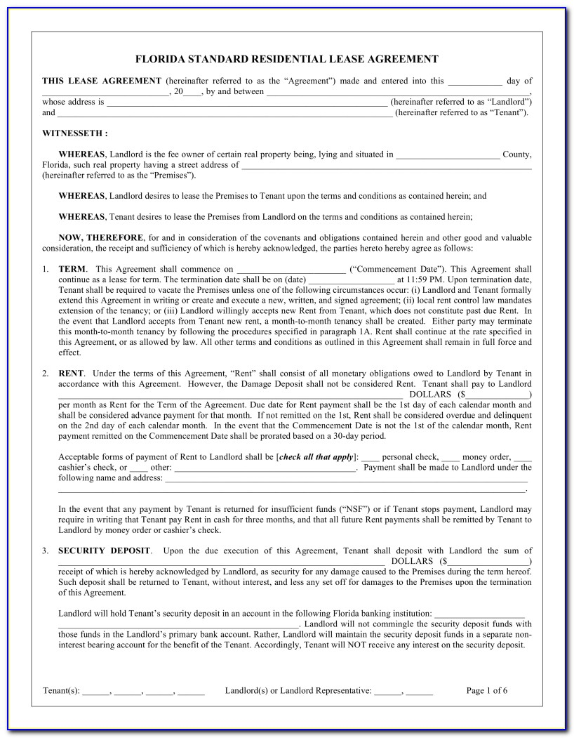 Addendum To Lease Agreement Template Florida