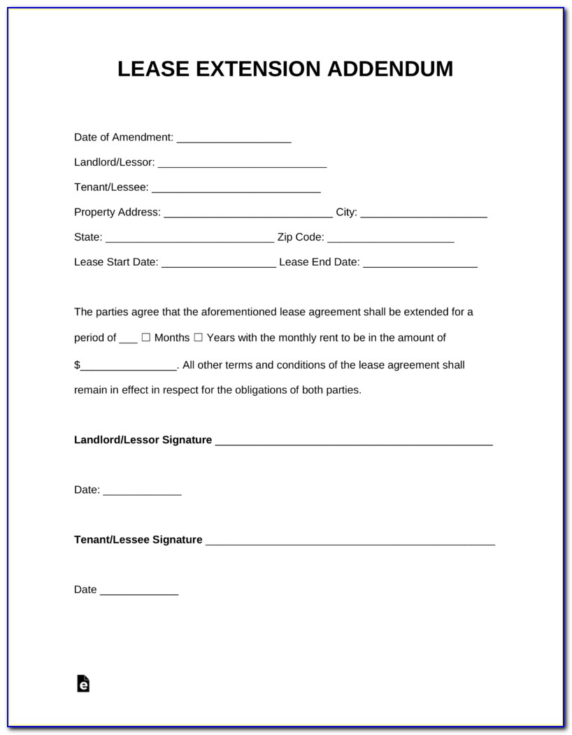 Addendum To Lease Agreement Template
