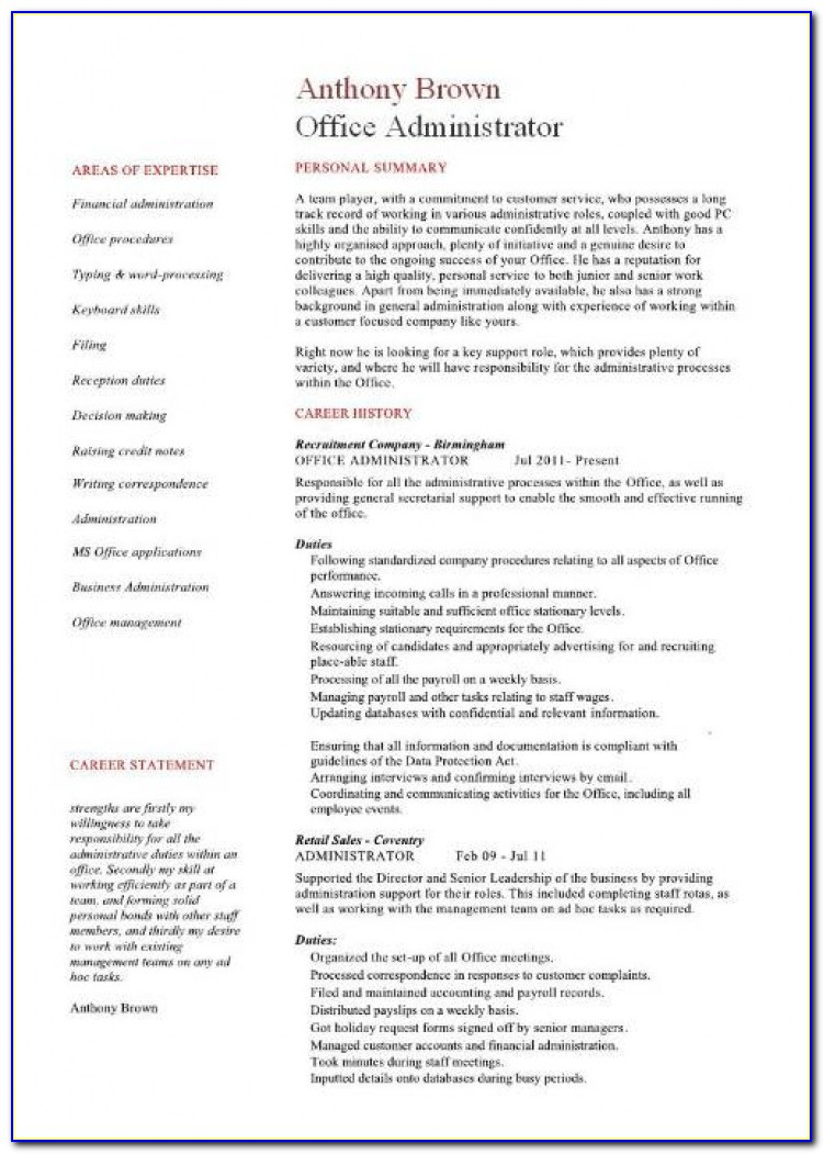 Admin Resume In Word Format