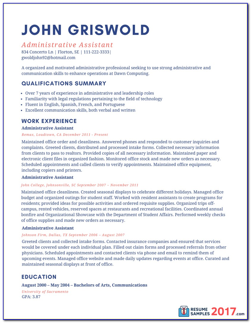 Administrative Assistant Resume Templates 2017 Vincegray2014