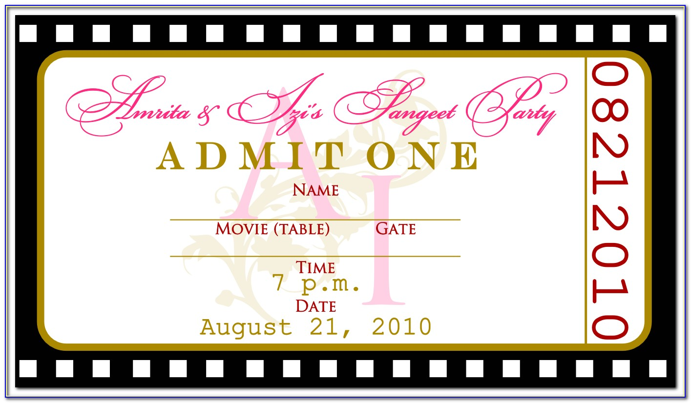 Admit One Ticket Template Photoshop