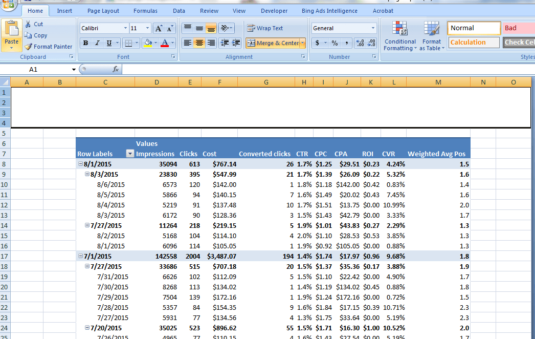 Adwords Report Template Excel