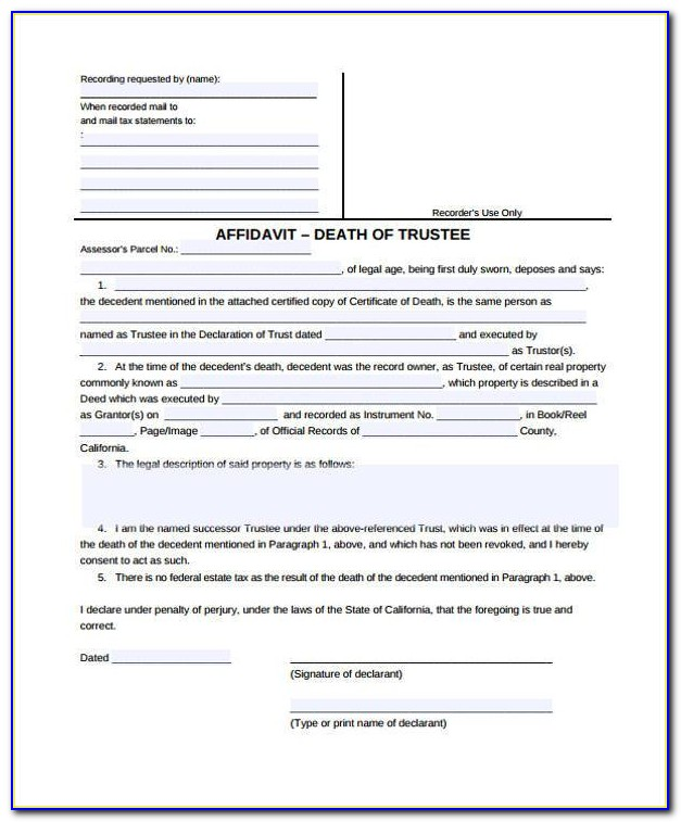 Affidavit Of Death Of Trustee Form Arizona