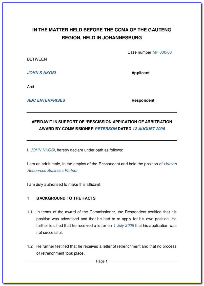 Affidavit Template South Africa Proof Of Residence Pdf