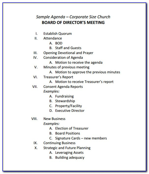 Agenda Template For Nonprofit Board Meeting