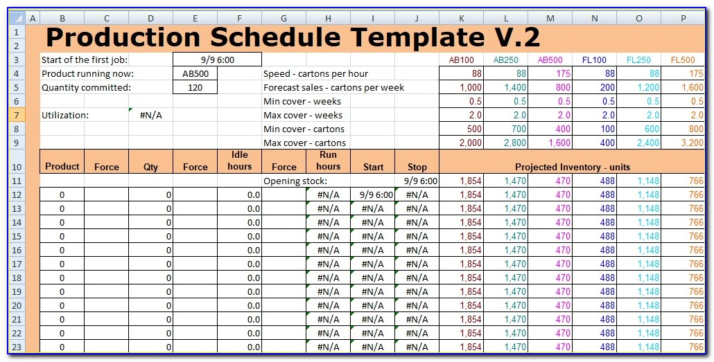 Aggregate Production Planning Excel Templates