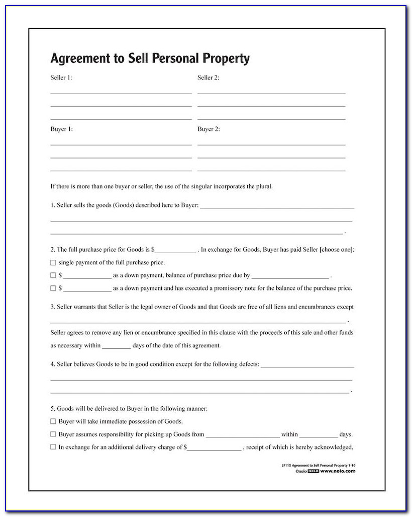 Agreement To Buy And Sell Real Estate Residential Form 310