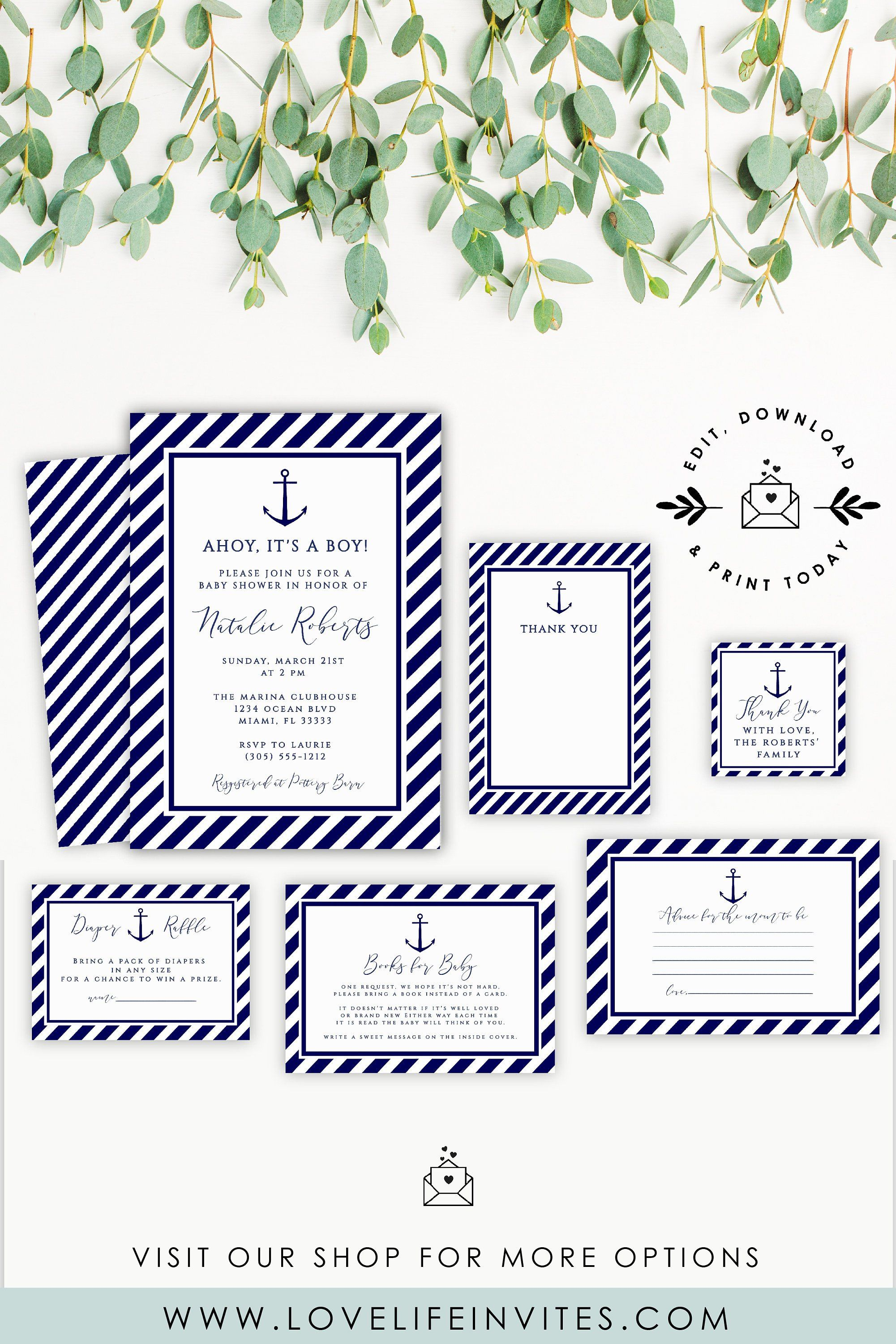 Ahoy Its A Boy Baby Shower Invitation Template